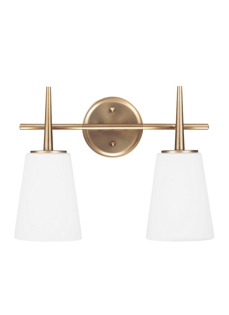 Sea Gull Lighting 4440402-848 Driscoll Two-Light Bath or Wall Light Fixture with Cased Opal Etched Glass, Satin Bronze Finish by Seagull