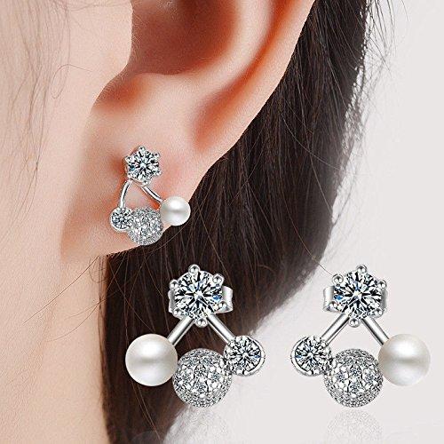 Phetmanee Shop Solid 925 Sterling Silver Pearl Cherry Zircon Stud Earrings Fashion Elegant