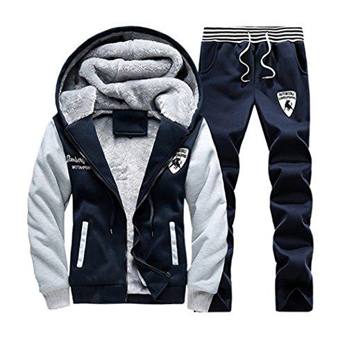 Sun Lorence Men's Winter Fleece Lined Hoodie Sweat Suit Full Zipper Tracksuit Set darkblue M