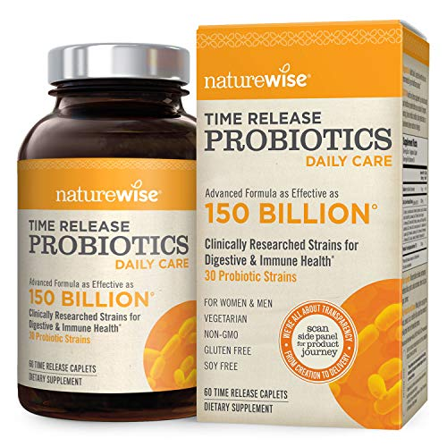 NatureWise Time-Release Probiotics for Men and Women: Comparable to a 90 Billion CFU Probiotic Supplement, Delivers 15x More Live Cultures to Intestines for Digestion & Immune Support, 60 Caplets