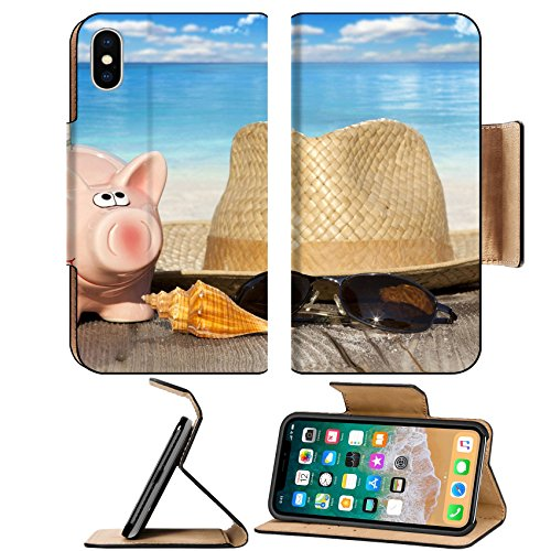 Liili Premium Apple iPhone X Flip Pu Leather Wallet Case ID: 27988008 Piggy bank with banknotes Seashells Straw Hat and Sunglasses on Wooden Baords at the beach with much C (Straw Seashell)