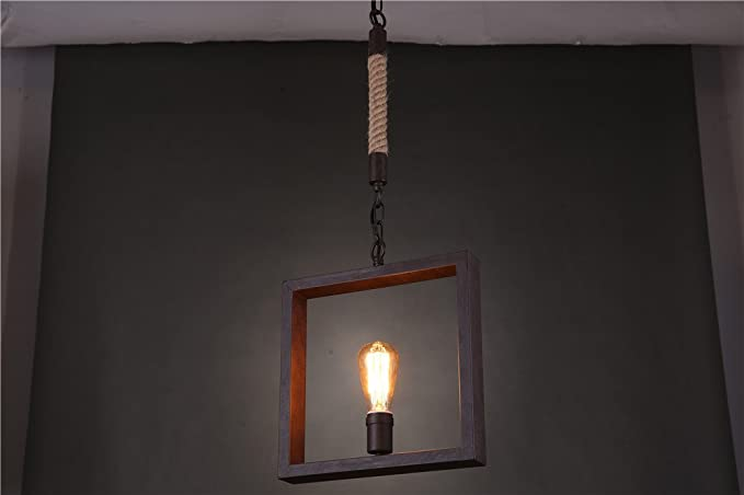 E vintage geometrico ciondolo luci quadrato corda soffitto luci