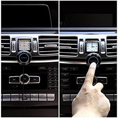 iClever Himbox HB01 Bluetooth 4.0 Hands-Free Car Kit with 3.5mm Aux Jack, Multi-Point Access, Siri / Voice Activation, Dual USB Charger & Magnetic Base, Updated Aluminum Ring - Black by iClever