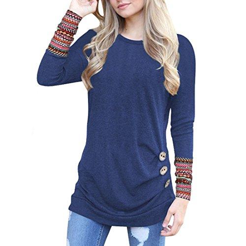 Lache Col T Rond Bleu Dcoration Inlefen Top Chemise Shirt Bouton Mme Chemisier q0Z1wS6n7