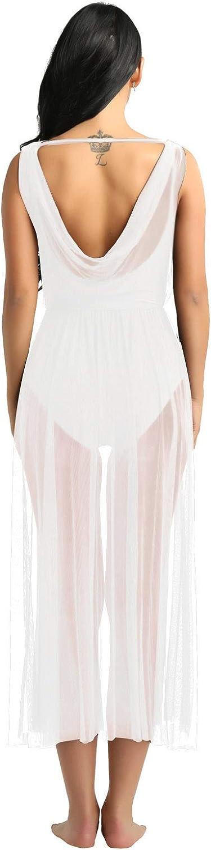 con maillot dividido vestido de baile inlzdz Vestido de baile de ballet contempor/áneo con cuello en V para mujer