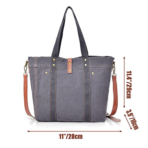 Women's Totes Ladies Shoulder Canvas Gray Handbag Bag Hobo rUpzrwnCq