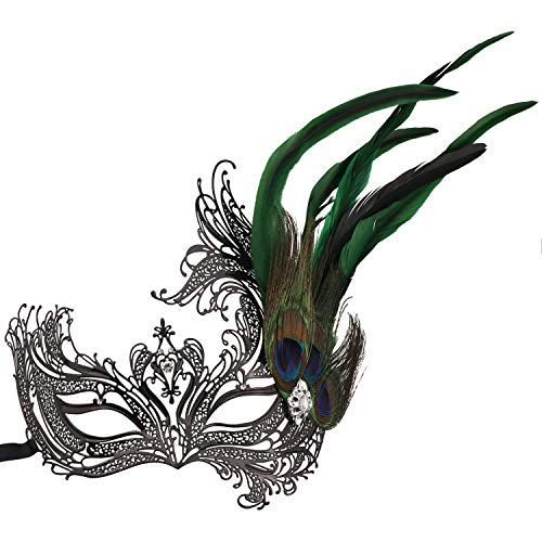Masquerade Metal Mask,Rhinestone Peacock Feathers Venetian Halloween Costume Mask (Style 1) -