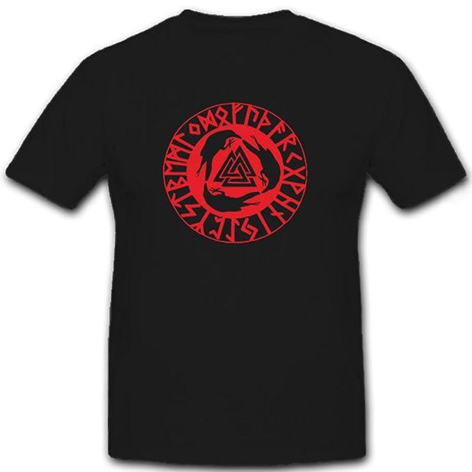 Copytec Cuervos de Odín runas Vikingo – Camiseta # 6780 Negro Medium