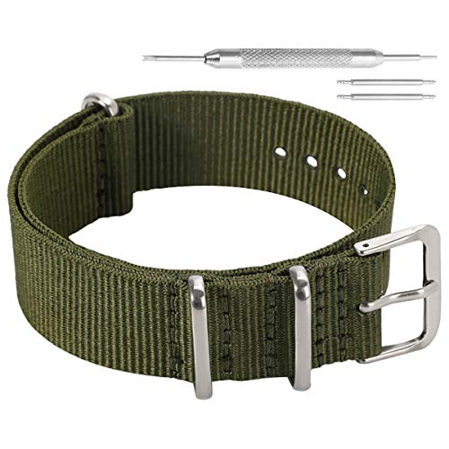 12mm Army Green Elegant Fashion NATO Style Ballistic Nylon Watch Band Strap Replacement for Women