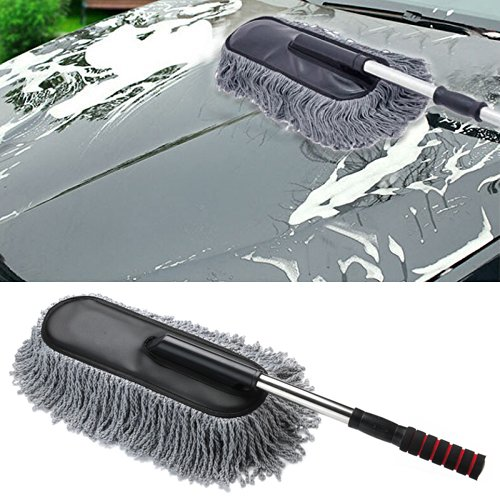 car duster onshowy telescopic retractable handle electrostatic microfiber car wax drag. Black Bedroom Furniture Sets. Home Design Ideas