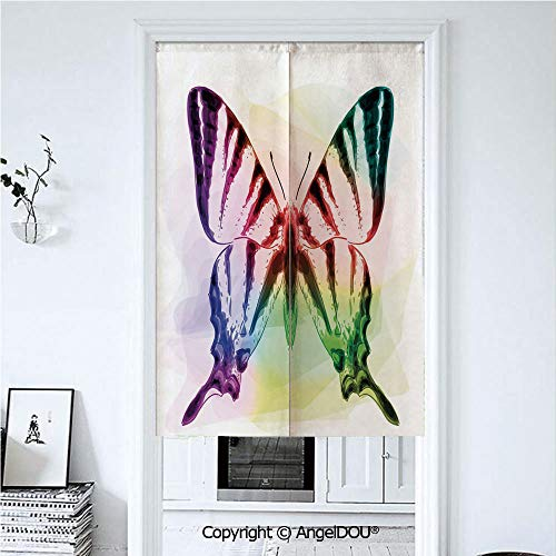 AngelDOU Swallowtail Butterfly Japanese Noren Hanging Doorway Curtain Butterfly with Rainbow Colors Fantasy Animal Artistic Dreamy Display for Living Room Kitchen Party. 33.5x47.2 inches