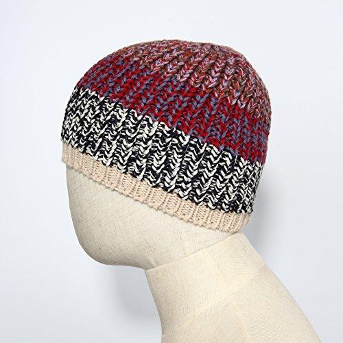 Kbb Burgundy Red Blue Croquet Patterned Designer Warm Knitted Beanie Hat