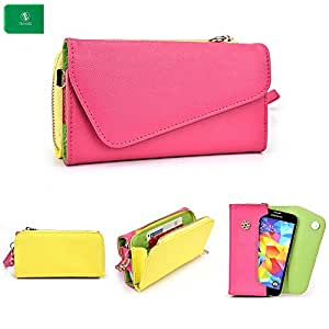 Celkon A99 -UNIVERSAL- WOMENS WRISTLET PHONE HOLDER W/ INTERNAL CARD SLOTS- PINK AND YELLOW- BONUS CROSS BODY CHAIN INCLUDED