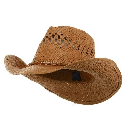 MG Womens Straw Outback Toyo Cowboy Hat, Brown