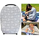 Stretchy 3-in-1 Carseat Canopy | Nursing Cover | Shopping Cart Cover- Grey Arrow | Great Baby Shower Gift for Boys or for Girls | Universal Fit for Infant Car Seat | Excellent for Breastfeeding Moms