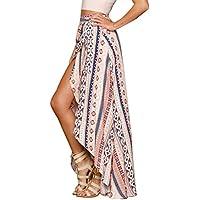 hotapei Womens étnico Maxi Falda envuelto de impresión playa Cover Up Vestidos