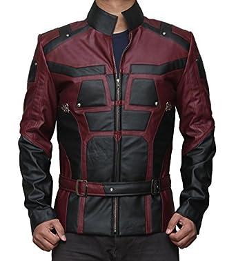 Daredevil Matt Murdock Red and Black Leather Jacket at Amazon ...