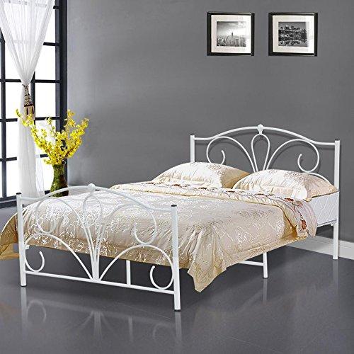 tinkertonk, struttura in metallo bianco per letto matrimoniale, materasso Queen Size, base letto 1,4 m Prezzi offerte