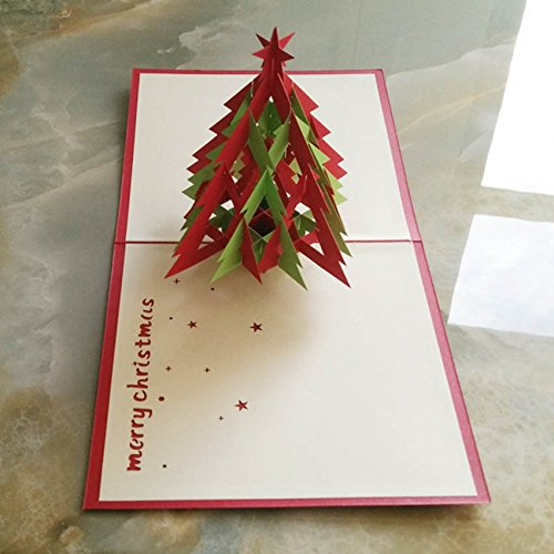 Luxbody(TM) 3D Pop Up Handmade Chirstmas Card 3D Christmas Postcards Merry Christmas Card Happy New Year Greeting Card