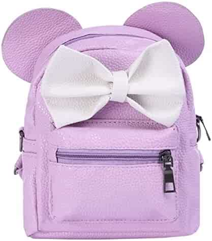 Women Kids Girls Leather Shoulder Backpack Cute Mini Cartoon Mouse Ear  Straps Bag Child Student School 305733b6490eb