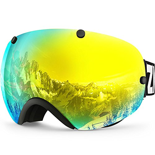 ard Snow Goggles for Men Women Anti-fog UV Protection Spherical Dual Lens Design (Gold Snowboard Binding)