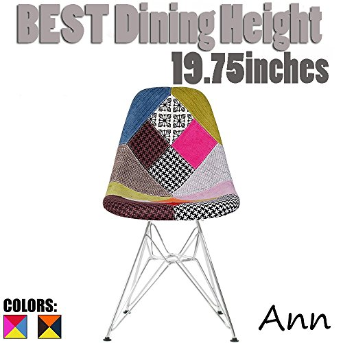 2xhome Multicolor – Modern Upholstered Plastic Side Fabric Chair 'Patchwork A' Multi-Pattern Eiffel Wire Base Dining Room Chair No arm For Sale