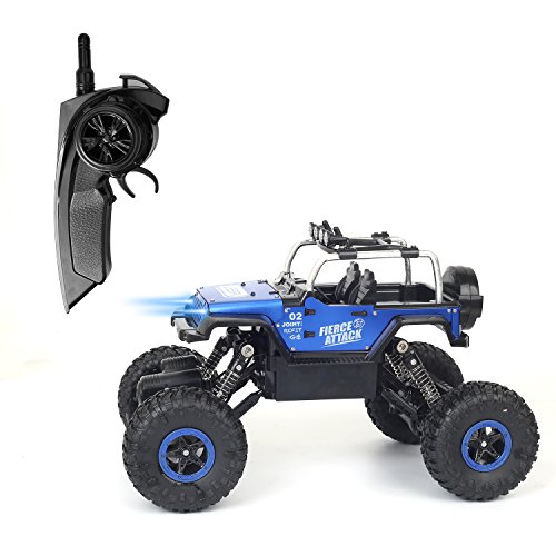 RC Cars Off-road Vehicles Jeep Trucks 4WD RC Trucks 1:18 Monster Trucks 2.4GHz RC Hobby Cars High Speed Racing Cars with LED Light - Blue Off Road Jeep