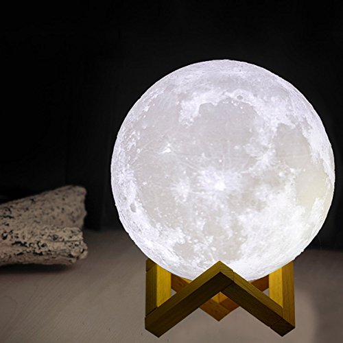 Moon Lamp 3D Printing LED Lighting Night Light, MOOKZZ Enchanting 3-D Full Luna Lunar Bedside Lights, Magical Baby Moonlight with Stand, Home Decorative Kids Table Lamps Nursery Lamp Diameter 5.9 Inch