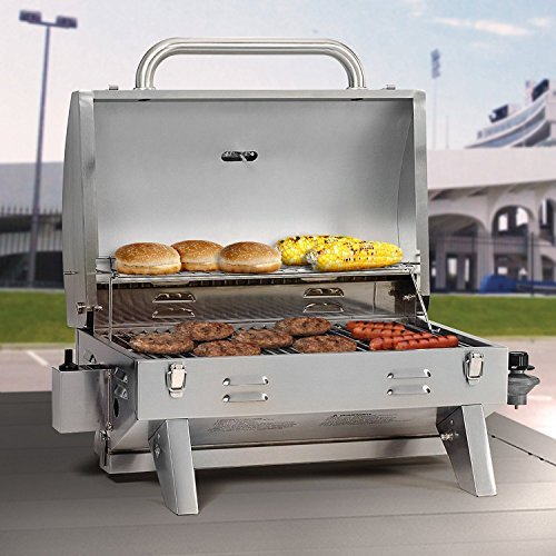 Brand New Best Selling Small Portable Inexpensive Table Top Camping Picnic Boating Stainless Steel Propane Gas Grill- Perfect Size With Folding Legs Locking Hood Cover- Perfect To Travel Anywhere