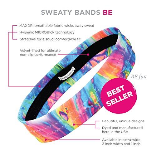 Sweaty Bands Womens Girls Headband - Non-Slip Velvet-Lined Sport Hairband - BE Fun Multi 2-Inch by Sweaty Bands (Image #3)