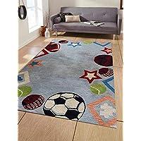 Rugsotic Carpets Hand Tufted Woolen 5 x 8 Kids Area Rug Light Blue K03010