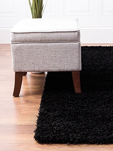 Black Shag Rug, 8-Feet by 10-Feet, 8x10 Solid & Thick Sta...