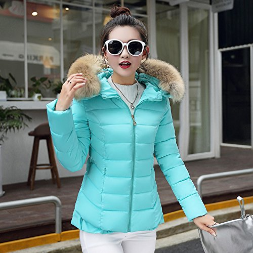 Slim Women'S Short Light Size Hooded Coat Large Female Increase Paragraph Cotton Jacket Down To Xuanku Winter bright The Collar Fur blue Spring FqwwC6TxA