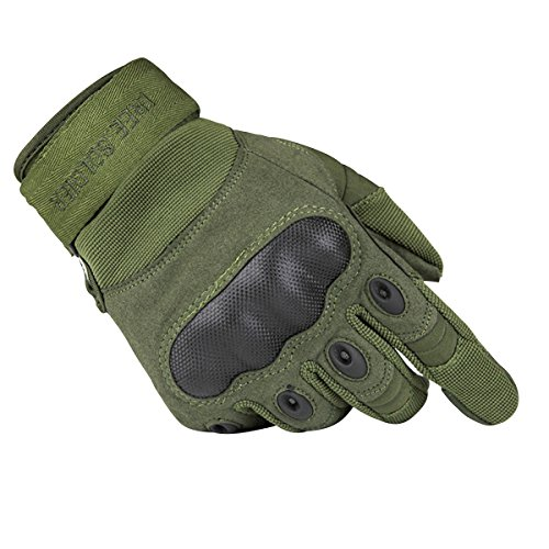 FREE SOLDIER Tactical Gloves Outdoor Military Armor Hard Knuckle Full Finger Gloves for Men Cycling Motorcycle Hiking Airsoft Gloves (XX-Large, ArmyGreen)