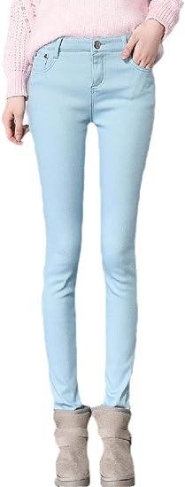 VITryst Women's Fleece Slim Fitting Warm Fall Winter Middle Waist Thick Jeans