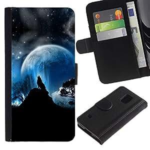 Billetera de Cuero Caso Titular de la tarjeta Carcasa Funda para Samsung Galaxy S5 V SM-G900 / Wolf Moon Mountain Trees Night Sky Forest / STRONG