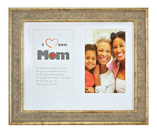 8x10 Frame for Two 4x6 Photo - White Mat with Cream core & 2 Openings - Gift for Mom - Collage Picture Frame - Wall or Table-Top Easel Stand, Real Glass (Light Gold - Ornate Panel)