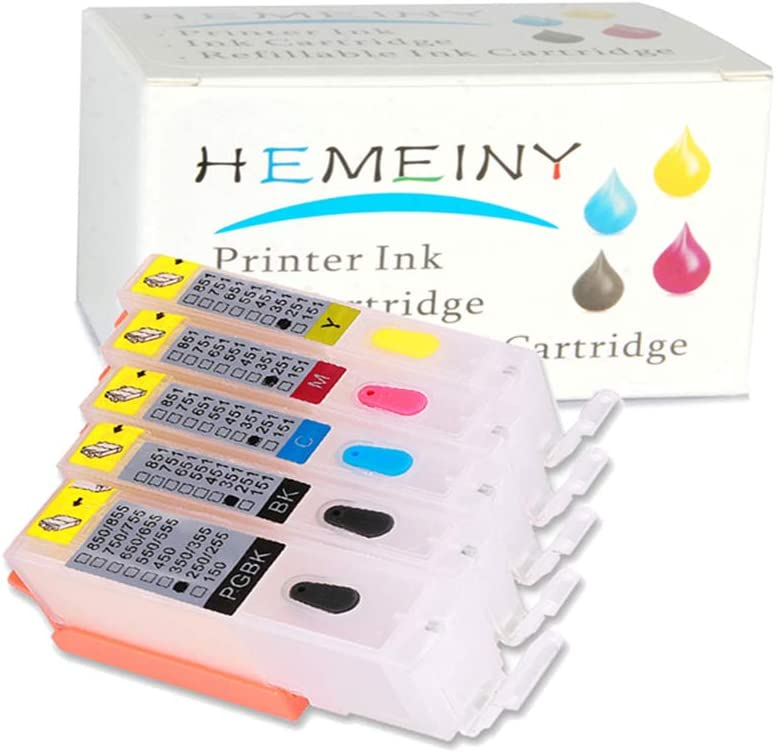 HEMEINY Empty Refillable Ink Cartridges Replacement for Canon PGI-250 CLI-251,Works with PIXMA MG5420 IP7220 MX722 MX922 MG5520 MG6420 MG5620 MG6620 MG5522 iX6820 Printer