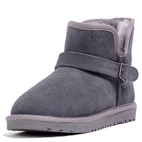 Wevans Buckle Suede Mens Ankle Snow Winter Boot Grey CLGqO1QZ