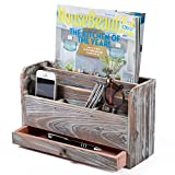MyGift Torched Wood Desktop Office Supplies Organizer, Mail Sorter and Document Holder Rack, Brown
