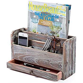 Well-known Amazon.com : Vintage Rustic Wooden Office Desk Organizer & Mail  WC04