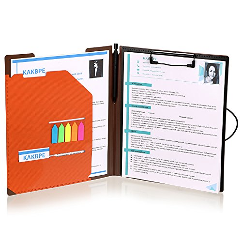 Clipboard Folder File Padfolio Clipboard Storage, Kakbpe Bussiness Letter Size Padfolio with Refillable Notepads, Give a Total of 100 Note Page Markers in Five Colors-Orange, Letter Size