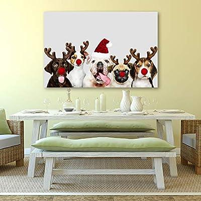 Happy Holiday Reindeer Pups - Canvas Art