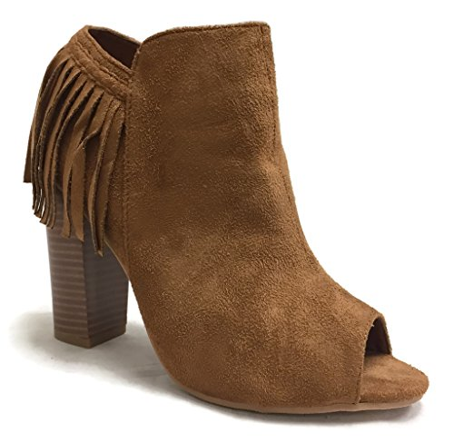 Spirit GINNY Womens Peep Toe Booties Suede Fringe and Braid - Chunky Stacked Heel