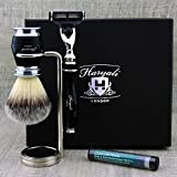 Classic Men's Shaving Set Essentials >Synthetic Brush, Gillette Mach3 & Dual Stand. Free Alum Stick  Gift for Him