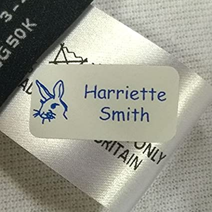 60 PERSONALISED MINI IRON ON SCHOOL UNIFORM NAME LABELS TAGS EASY IRON