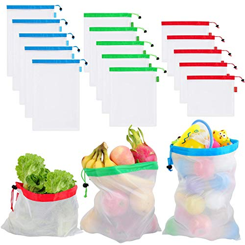 15 pcs Reusable Produce Bags, Superior Double-Stitched Extra Strong Washable Lightweight See Through with Tare Weight Labels Eco Friendly Grocery Produce Bags for Fruit Veggies Toy Storag ()
