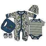 Unisex Presents Gifts for Newborn Baby Boys Girls Toddler Unisex Cute Clothing Sets Sleepsuit Vest Bib Hat Outfits Bundles Pack (6 Mois, White Safari Animals)