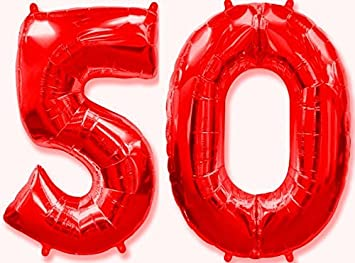 OFERTA ANTES 11,90€) Globo número 50 rojo para fiestas de ...