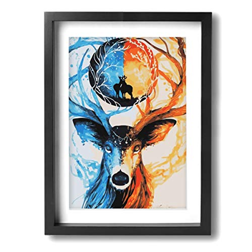 Jist Zovi Colorful Ice Fire Deer Inner Framed Decorative Artwork Abstract Oil Paintings On Canvas Wall Art Ready to Hang for Home Decoration Wall Decor, Paintings for Living Room 12x16inch